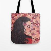 snow white Tote Bags featuring Snow White by Sarah Larguier