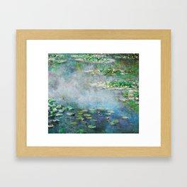 1906 Waterlily on Canvas.  Claude Monet . Vintage fine art. Framed Art Print