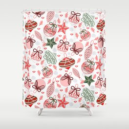 Colorful Christmas Ornaments Shower Curtain