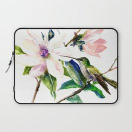 Hummingbird and Magnolia Flowers, Green Soft Pink floral design vintage style Laptop Sleeve