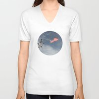 flag V-neck T-shirts featuring Flag by Nick De Clercq