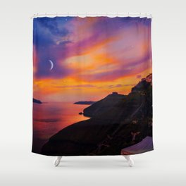Santorini,Fira,Sunset Shower Curtain