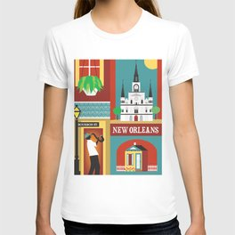 New Orleans, Louisiana - Collage Illustration by Loose Petals T-shirt