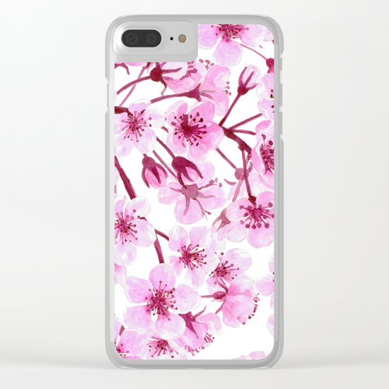 Cherry blossom pattern Clear iPhone Case
