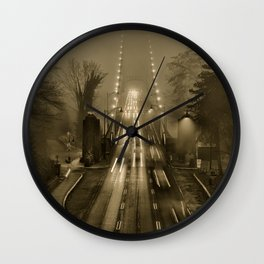 Lions Gate in the Fog 02 Wall Clock