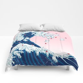 Christmas Llama Great Wave in Pink Comforters