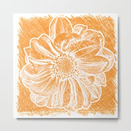 White Flower On Warm Orange Crayon Metal Print