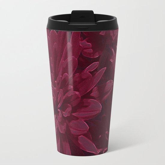 Burgundy Chrysanthemums Metal Travel Mug