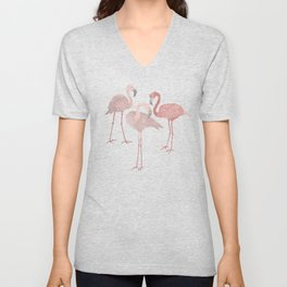 Three pink flamingos on navy blue Unisex V-Neck