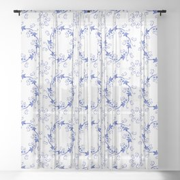 Blue floral ornament on a white background Sheer Curtain