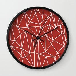 Geometric Cobweb (White & Maroon Pattern) Wall Clock