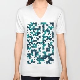 Take me to the bottom of the ocean - Random Pixel Pattern in shades of blue green Unisex V-Neck
