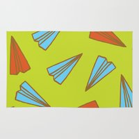 planes Area & Throw Rugs featuring Paper Planes by evannave