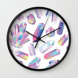 Purple Crystals Wall Clock