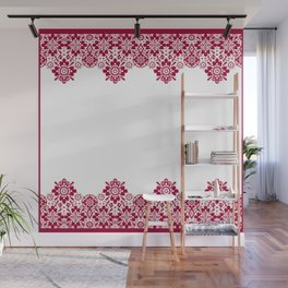 Retro .Vintage . Red lace on a white background . Wall Mural