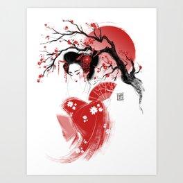 Red Geisha Art Print