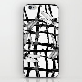 BLACK & WHITE DRAGONFLIES ON WHITE COLOR iPhone Skin