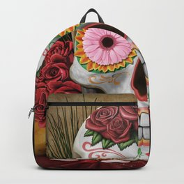 Flora - Sugar Skull with Cactus, Red Roses, Avocado and Papaya Backpack