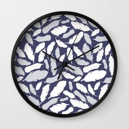Feather Pattern Blue Wall Clock