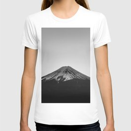 Mount Fuji Volcano in Grayscale T-shirt