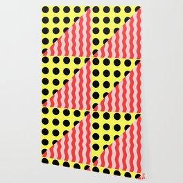 Polka Waves - black and yellow polka dots and red and pink waves Wallpaper