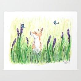 Fox with Butterflies Art Print