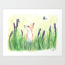 Fox with Butterflies Art Print
