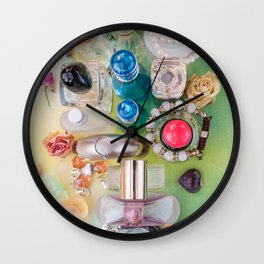 Colorful perfume bottles  and jewelries Wall Clock