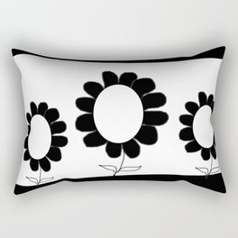 Simple Black and White Flowers Rectangular Pillow
