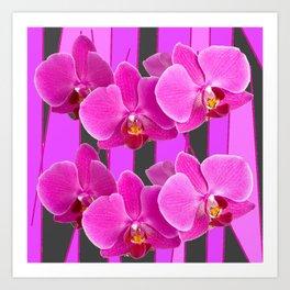 MODERN CHARCOAL GREY COLOR CERISE PURPLE ORCHIDS Art Print