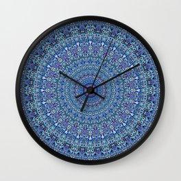 Blue Circle Garden Mandala Wall Clock
