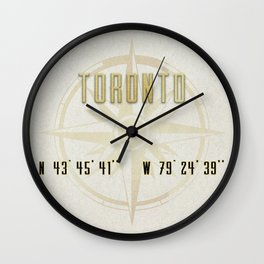 Toronto - Vintage Map and Location Wall Clock