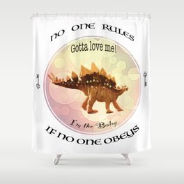 No One Rules If No One Obeys  Baby Scelidosaurus Dinosaur Design for #Society6 Shower Curtain