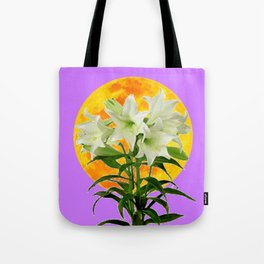 EASTER LILIES ON LILAC GOLDEN MOON Tote Bag