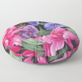 Large Pink and Purple Flowers with Green Leaves Floor Pillow