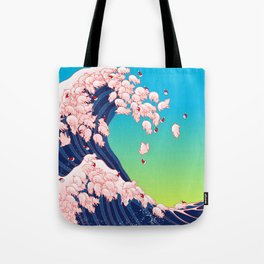 Christmas Baby Pigs The Great Wave in Blue Tote Bag