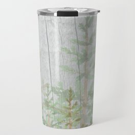 Pine forest on weathered wood Travel Mug