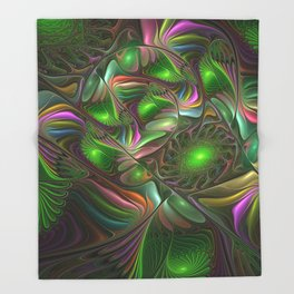 Colorful and Luminous, Abstract Fractal Art Throw Blanket
