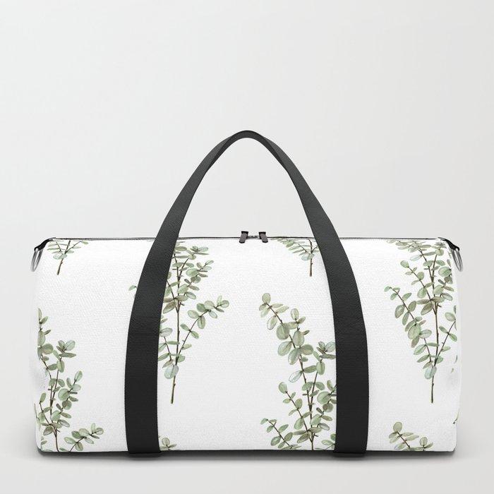 Baby Blue Eucalyptus Watercolor Painting Duffle Bag