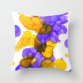 Purple and Gold Alcohol Ink Circles and Splatters  Throw Pillow