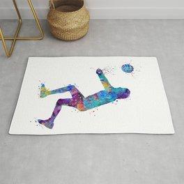 Volleyball Girl Art Libero Player Gift Colorful Blue Purple Watercolor Decor Rug