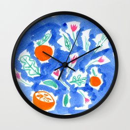 Oranges and Flowers in Blue Wall Clock
