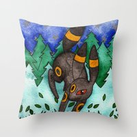 umbreon Throw Pillows featuring Eeveevolution Series - Umbreon by Jazmine Phillips