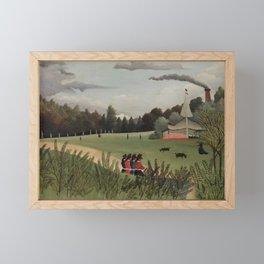 Landscape and Four Young Girls (Paysage et quatre jeunes filles) (ca 1895) by Henri Rousseau Framed Mini Art Print