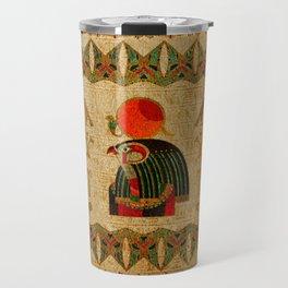 Egyptian Horus Ornament on Papyrus Travel Mug