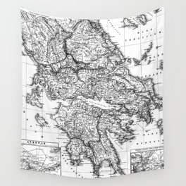 Vintage Map of Greece (1903) BW Wall Tapestry