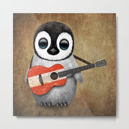 Baby Penguin Playing Austrian Flag Acoustic Guitar Metal Print