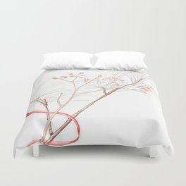 Winter Branches (white pine and rose hips) in Watercolor Duvet Cover