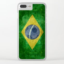 Flag of Brazil with football (soccer ball) retro style Clear iPhone Case