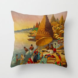 Banaras See India Travel Poster Throw Pillow